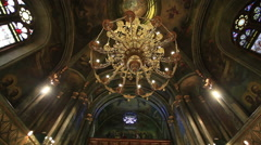 Dolly shot of ceiling of orthodox  Cathedral Stock Footage