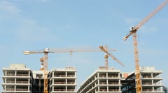 Building construction with crane - blue sky Stock Footage