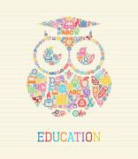 education wisdom owl concept illustration - stock illustration