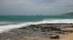Storm surf, hurricane iselle, kailua, oahu, hawaii. Stock Footage