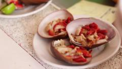Plate of oysters shell restaurant meal Stock Footage