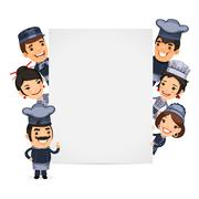 Stock Illustration of Chefs Presenting Empty Vertical Banner
