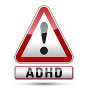 adhd - attention deficit hyperactivity disorder - isolated sign with reflecti - stock illustration