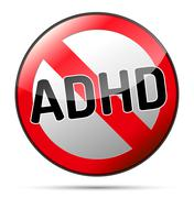 Adhd - attention deficit hyperactivity disorder - isolated sign with reflecti Stock Illustration