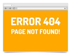 Page 404 error on opened internet browser window with shadow. Piirros