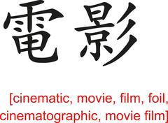 Chinese Sign for cinematic, movie, film, foil, cinematographic Piirros