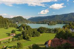 Lake Bled at a sunny day, Slovenia Stock Photos