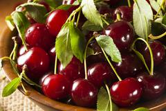 healthy organic sour cherries - stock photo