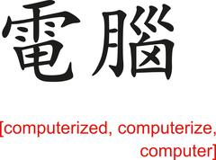 Chinese Sign for computerized, computerize, computer - stock illustration