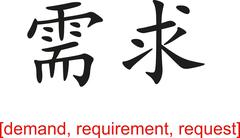 Chinese Sign for demand, requirement, request - stock illustration