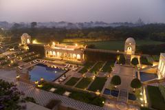 Taj mahal gardens lit up at night, agra, india Stock Photos