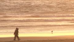 Couples Walking Ocean Shore at Sunset Stock Footage