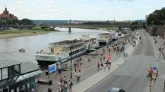 Dresden, Germany. Elbe river. Stock Footage