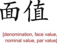 Chinese Sign for denomination,face value,nominal value,par value Stock Illustration