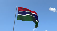 The flag of Gambia Waving on the Wind. Stock Footage