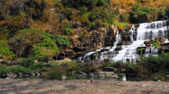 Panoramic view of wild beautiful nature of highlands of Vietnam. Pongour falls Stock Footage
