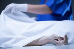 Corpse covered by sheet Stock Photos