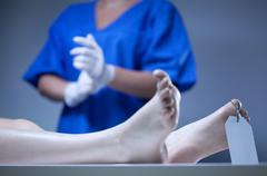 dead body lying in mortuary - stock photo