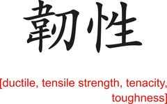 Chinese Sign for ductile, tensile strength, tenacity, toughness - stock illustration