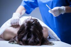 Dead woman lying in mortuary Stock Photos