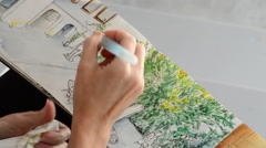 Hand urban artist painting a picture Stock Footage