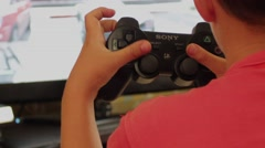 Kid Playing Playstation Stock Footage