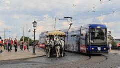 Dresden, Germany - the old town. Horse cab and tram. Stock Footage