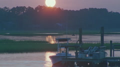 Boat Dock at Sunset Stock Footage