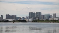 Tokyo cityscape from Daiba Park, Tokyo, Japan Stock Footage