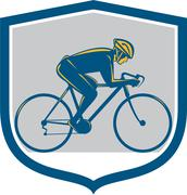 Stock Illustration of cyclist riding mountain bike shield retro