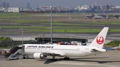 Tokyo International Airport, Japan, Japan Airlines Stock Footage