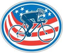 Stock Illustration of cyclist riding mountain bike american flag oval