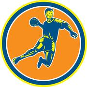 Handball player jumping throwing ball circle woodcut Stock Illustration