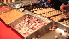 Takoyaki shop at a traditional summer festival in Tokyo Stock Footage