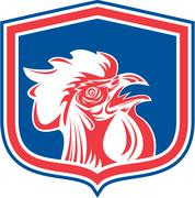 Chicken rooster head mascot shield retro Stock Illustration
