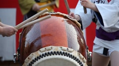 Taiko drummers at a traditional summer festival in Tokyo Stock Footage