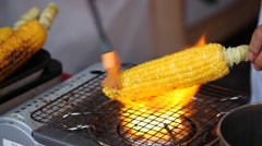 Roasted corn shop at traditional summer festival in Tokyo Stock Footage