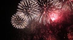 Fireworks at Edogawa fireworks festival, Tokyo, Japan Stock Footage