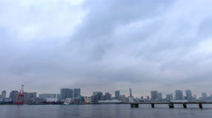 Time lapse view of Tokyo Bay with cityscape in the background from Odaiba, Stock Footage