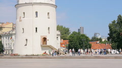 Vilnius Cathedral Bell Tower in the Cathedral Square Stock Footage
