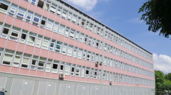 Exterior of an old, low office building in Poland, Europe - stock footage