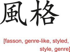 Chinese Sign for fasson, genre-like, styled, style, genre Stock Illustration
