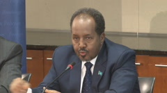 8 of 13  - Somalian President discusses Mogadishu's local economy Stock Footage