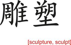 Chinese Sign for sculpture, sculpt - stock illustration