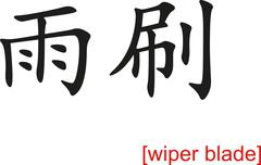 Chinese Sign for wiper blade - stock illustration