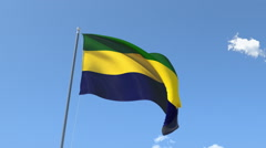 The flag of Gabon Waving on the Wind. Stock Footage