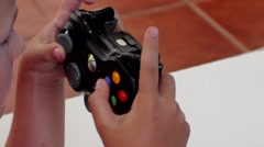Young Child Playing Microsoft Xbox Close View Stock Footage