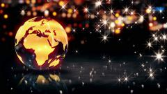 Globe Glass Crystal Gold City Light Shine Bokeh 3D Background Loop Animation Stock Footage