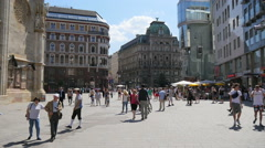 Vienna city Austria old town street tourists Stephansplatz cathedral square  Stock Footage