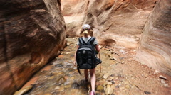 POV Hiking Slot Canyon Stock Footage